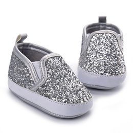 Wholesale Silver Sparkly Baby Boy Shoes Infant Girl Shoes Footwear Fashion Bling Bling Soft Sole Toddlers Loafers Sapato Baby