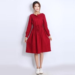 Wholesale Dresses For Pregnant Women Winter - Quality Linen Maternity Dresses Autumn Long Sleeve Clothes for Pregnant Women Clothing for Pregnancy 2017 New Fashion