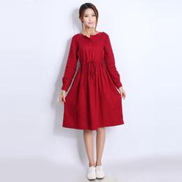 Wholesale Winter Dresses For Pregnancy Women - Quality Linen Maternity Dresses Autumn Long Sleeve Clothes for Pregnant Women Clothing for Pregnancy 2017 New Fashion