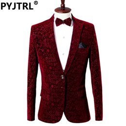Wholesale Ceremony Suits Men - Wholesale- ( Jacket + Pants ) Red Man's Suit Groom Dress Singer Master Of Ceremonies Host Stage Show Serve Clothing Mens Suits Wedding