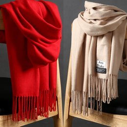 Wholesale Plain Pink Scarf Winter - Cashmere scarf women 2017 autumn winter new multi function thickening warm tassels shaw wholesale size 200cm*70cm weight 320g TB28