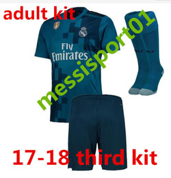 Wholesale Set Shirt - 17 18 Real madrid men kit soccer jersey third blue adult kit with sock RONALDO ASENSIO BALE RAMOS BENZEMA 2017 2018 new football shirtS set