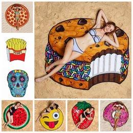 2019 пицца мороженое Круглый пляжное полотенце пицца гамбургер череп мороженое клубника ананас арбуз пляжные полотенца одеяло Шаль Бесплатная доставка DHL дешево пицца мороженое