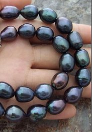 Wholesale Pearl 11mm - FREE shipping fashion BEAUTIFUL 10-11MM NATURAL SOUTH SEA BAROQUE BLACK PEARL NECKLACE