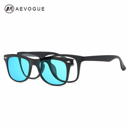 Wholesale Plastic Magnetic Clips - Wholesale- AEVOGUE Magnetic Clip Polarized Sunglasses Mens Optiacal Myopia Glasses Unisex Plastic Titanium (TR90) Frame With Box AE0511