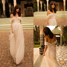 Wholesale Country Feathers - Ostrich Hair Tassel Feather Off shoulders Bohemian Country Wedding Dresses 2018 Liz Martinez Bridal Ruched Tulle Beach Holiday Bridal Gowns