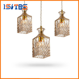 Wholesale Wholesale Glass Pendant Lights - Modern Glass Pendant Lamp Nordic Dining Room Wine Bottle Pendant Light Kitchen Lighting Fixture Restaurant Hanging Lamp