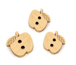Wholesale Cute Craft Buttons - Kimter Cute Apples Wooden Sewing Buttons With 2 Holes 13x12mm For Kid's Clothing And DIY Handmade Craft Scrapbooking Pack Of 200pcs I583L