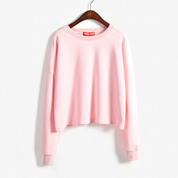 Wholesale Basic Tee Crop Top - Wholesale- 2015 Fall New Arrival Cute Kawaii Casual Candy Color Crop Tops Basic Tee Shirts Long Sleeve for Women Girls Woman on Sale