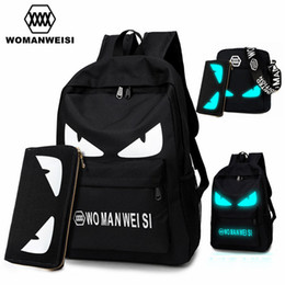 Wholesale teenage male fashion - Wholesale- 2017 Fashion Brand Women Male Anime Schoolbag For Teenage Girls Boy Popular Computer Laptop Backpack Female Men Luminous Bagpack