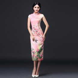 Wholesale Night Gowns Woman - Glitter Dress Dresses for Women Formal Gown Summer Dress Short Sleeve Split Annual Sexy Dress Printing Improved Qipao