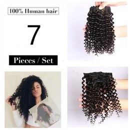 Wholesale Afro Kinky Remy Human Hair - 7pcs 70g Brazilian Afro Kinky Curly Clip in Real Remy Human Hair Weft Extensions Clip On Hair Natural Black Color #1B Clip ins