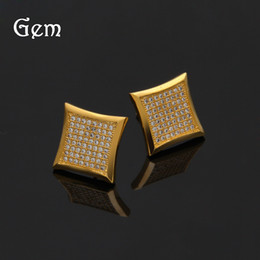 Wholesale Luxury Earings - Hiphop Earring For Women and Men Full Rhinestone Earings Hip Hop Jewelries Luxury Party Accessories 2017 Hot Sale