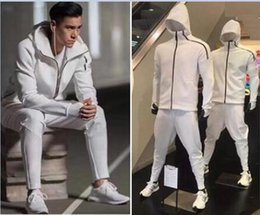 Wholesale Men Women Suits - Z.N.E hoody men's sports Suits Black White Tracksuits hooded jacket Men women Windbreaker Zipper sportwear Fashion ZNE hoody jacket+pant