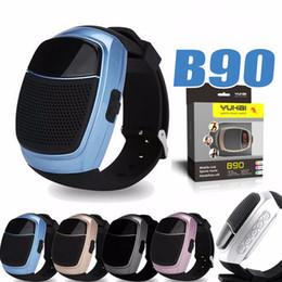 Wholesale Mini Speaker Card - B90 Bluetooth Smart Watch Speaker Smartwatch with Memory SD Card Slot Mini DZ09 U8 BT808 Handsfree Wrisbrand 3.0 Smart Watches with Package