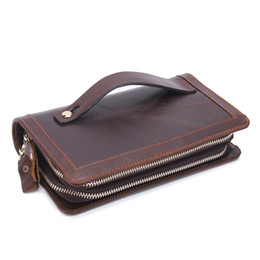 Wholesale Retro Cell Phone Holder - Fashion Men's Original Retro Leather Clutch Wallet Guaranteed Genuine Leather Vintage Man Clutch Bag High Capacity