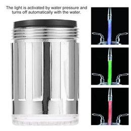 Wholesale Lit Waterfall Tap - Wholesale- Cimiva LED Water Faucet Light 7 Colors Changing waterfall Glow Shower Stream Tap universal adapter Kitchen Bathroom Accessories