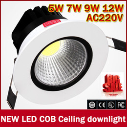 Wholesale Very Chip - Wholesale- zk50 2016 Newest 5W 7w 9w 12w Very Bright LED COB chip downlight Recessed LED Ceiling light Spot Light Lamp White  warm white