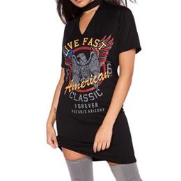 All'ingrosso-Donne Sexy V Neck Halter Choker Mini Dress Slim Eagle stampato T Shirt Partywear cheap wholesale neck choker da choker all'ingrosso del collo fornitori