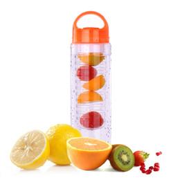 Wholesale Bottle Plastic Water Cap - 700ml cycling sport infuser bottle unisex fruit water bottles space lemon orange infusing BPA EA free with cap