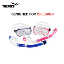 Wholesale Silica Tubes - Wholesale-Children Kid Christmas Gift Snorkeling Diving Gear Scuba Swim Snorkel Mask Dive Equipment Silica gel Fog Proof Goggles With Tube