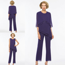 Wholesale Cheap Winter Outfits - New Purple Mother Of The Bride Pant Suits With Jacket Cheap Chiffon Wedding Guest Dress Outfit Plus Size Garment Formal Evening Jumpsuits