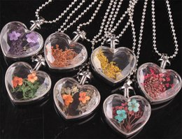 Wholesale Heart Shaped Glass Pendants - 2017 fashion heart shaped perfume bottle dry flower pendant necklace crystal glass retro necklace silver plated jewelry for women accessorie