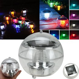 Wholesale Solar Powered Balcony Lights - Solar Power Waterproof Floating LED Lamp Light 7 Colors Changing Floating Globe Swimming Pool Bathtub Lawn Balcony Christmas Xmas Party