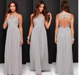Wholesale Modest Prom Dress Cheap - Hot! 2017 Country Cheap Grey Prom Dresses Long Chiffon A-Line Backless Formal Dresses Party Lace Modest Party Occasion Wear