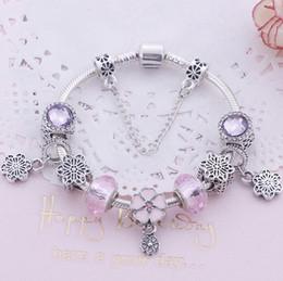 Wholesale pink lampwork - Fashion 925 Sterling Silver Pink Crystal Murano Lampwork Glass & Crystal European Charm Beads Fits Pandora Charm bracelets Style Free Ship
