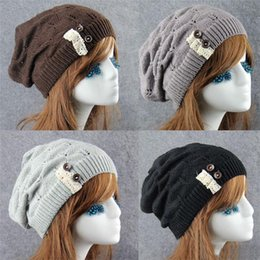 Wholesale Crochet Knit Hat Patterns - New Fashion Women Knitted Beanie Cap With Button Leaves Pattern Crochet Clunky Beanies Winter Warm Hats Beret 6 Color