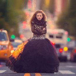 Wholesale Blue Gothic Wedding Dresses - 2017 Unique Black Lace Flower Girl Dresses Gothic Long Sleeve High Ruffles Neck Girls Pageant Dress Floor Length Tulle Communion Dresses