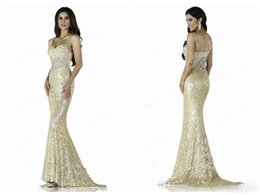 Wholesale Beaded Sash Pattern - 2017 New Shoulder Lace Sequins Mermaid Prom Dresses Long Trailing Lace Applique Crystal Beaded Evening Gowns Sexy Dress Plus Size