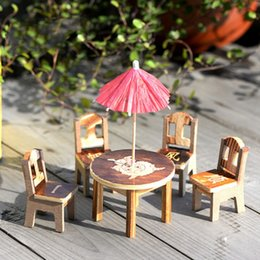 Wholesale Dollhouse Chairs - Wooden Dollhouse Miniature Furniture Mini Dining Room 1pc Table & 4pcs Table Chair Miniature Craft Landscape Garden Decor