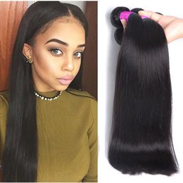 Wholesale Cheaper Weave Hair - Malaysian Straight Remy Hair 3 Bundles Cheaper Silk Straight Hair Weaves 100% Human Hair Bundles Extension 100g per bundles