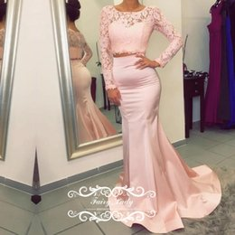 Wholesale Unique Prom Dress Lace Bodice - Women Long Sleeves Two Piece Evening Dresses Mermaid Sheer Lace Crop Top Pink Satin Unique Illusion Bodice 2017 Party Prom Gown