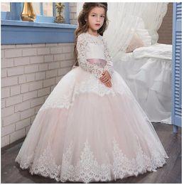 Wholesale Girl Dress Longsleeve - Girls Wedding Formal Dresses 2018 Autumn LongSleeve Tailing Lace Gauze Prom Ball Gown Flowers Girls Princess Dress Kids Birthday Party Dress