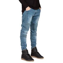 Wholesale Preppy Clothing - Wholesale-Hot 2016 New Fashion Brand Jeans Men Homme Straight Slim Fit Biker Jeans Pants Denim Trousers Pleated Designer Mens Clothing