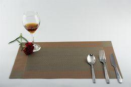 Coupe du napperon en Ligne-1 PC 9 couleurs PVC cuisine à manger en bambou table Placemats Table en tissu mat manteles individuales napperons tasse tapis coaster pad JI 0817