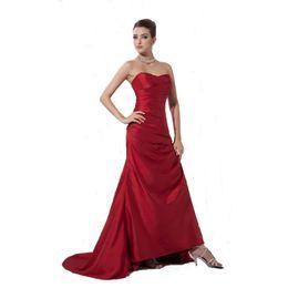 Canada Robe de soirée de bal de fin d'année de conception Vintage Corset Retour rouge foncé robe de taffetas dames style sirène robe cheap taffeta evening dress corset Offre