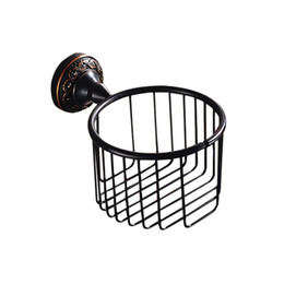 Wholesale Finished Bathrooms - New designed Wall Mounted Antique Black Finish Bathroom Accessories  Toilet Paper Holder  bathroom sets toilet roll holder for home sale
