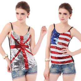 Wholesale Women American Flag Dress - 2017 Fashion night dress sexy nightclub British American flag Sequin jacket Sexy Vest for women