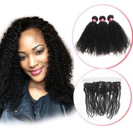 Bakire Brezilyalı Afro Kinky Kıvırcık Saç Paketler Dantel Frontal Kapatma Ile Remy Perulu İnsan Saç Dokuma Frontal Adet yumuşak Curl supplier afro curl weave hair nereden afro curl örgü saç tedarikçiler