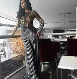 Argentina Vestidos de noche 2017 Yousef aljasmi Zuhair murad Labor joisie Charbelzoe Vestido de fiesta Mono de plata Vestido de manga larga Vestido largo con escote en V Suministro