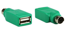 Wholesale Usb Ps Adapter Cable - New Universal Mouse Mice Keyboard USB Type A Female to PS2 PS 2 6pin mini din Male Adapter Converter Adaptor Green