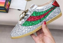 Wholesale Black Lace Jewelry - 2017 spring fall womens silver gold Glitter pink Genuine patent Leather Luxury Jewelry Rhinestones embroidery low top Sneakers Trainers
