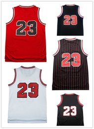 Wholesale Men Sleeveless Tops - Top quality #23 Jerseys Classical Black Red White Basketball Jersey Men Sports wear embroidered Logos Cheap sports shirts