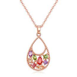 Wholesale Crystal Pave Link Necklace - 2017 Social diamond Necklaces Pendant Pave Swarovski Crystal Stones Teardrop Design Satement Necklace Gift For Women 022-NE0137
