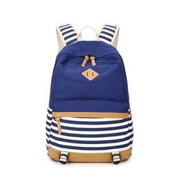 Wholesale Super Canvas Bag Pack - New Arrival Navy Stripe Backpacks Canvas Bag Students Backpack School Bags High Quality Super Practical Large Space Back Packs
