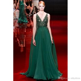Wholesale Elie Saab Dress V - Elie Saab Emerald Green Evening Dress 2017 Modest Beading Chiffon V-Neck A-Line Long Prom Gowns Sleeveless Evening Wear Dresses